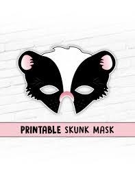 printable lizard mask template skunk mask animal masks printable party mask halloween