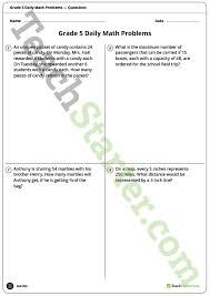 daily math word problems grade 5 worksheets teaching resource