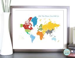 world map art for kids print for nursery world and places 11x14