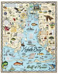 Florida Lighthouses Map by Historical Mobile Bay Maps Custom Map Art By Melissa Smith