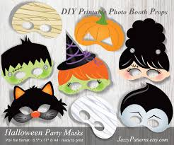 diy halloween printable masks photo booth props pp007 instant