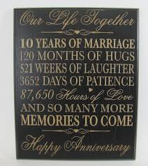 10th wedding anniversary gifts 10th wedding anniversary wall plaque gifts for
