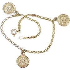 gold lucky charm bracelet images Vintage 14k gold japanese kanji charm bracelet good luck jpg