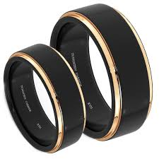black rings images His and hers matching tungsten wedding engagement ring set jpg