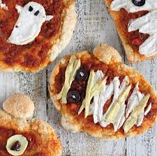 scary halloween appetizers halloween pizzas ghosts pumpkins and mummies with coconut milk