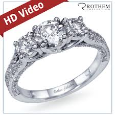 three stone engagement rings platinum 1 84 carat g i2 pave three 3 stone diamond engagement