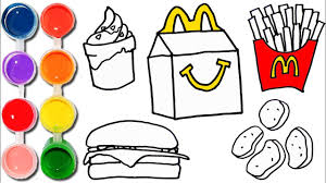 how to draw u0026 color a mcdonalds happy meal set hamburger french