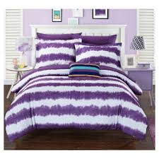 Home Design Comforter Lucas Striped Shibori Tie Dye Printed Comforter Set 7 Piece Twin