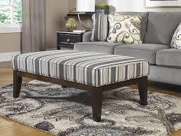 Living Room Ottoman by Decor Stripes Fabric Upholstered Ottoman Coffee Table And