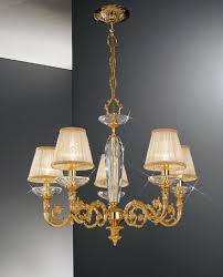 Gold Chandelier Light Kolarz Contarini 5 Light Gold Chandelier With Shades 0299 85 3