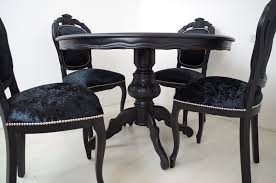 black round pedestal table louis french style round pedestal table 4 chairs in black painted