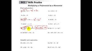 glencoe algebra 1 multiplying a polynomial by a monomial