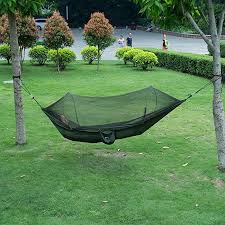 isyoung parachute fabric hammock with mosquito net cover durable