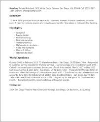 Bank Manager Resume Samples by Professional Td Bank Teller Templates To Showcase Your Talent