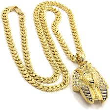 chain necklace hip hop images Summer outlet mens gold plated hip hop iced cz pharaoh pendant 5mm jpg