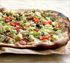 calabrian cuisine roasted cauliflower pizza with calabrian chiles and green olive