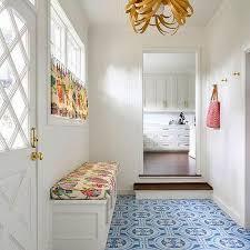 mudroom floor ideas sunken mudroom with blue cement tile floor flooring