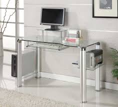 Small Glass Computer Desk Modern Glass Computer Desk Size Stunning And With Regard To Plans