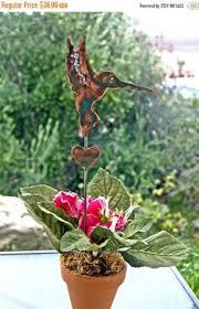 Hummingbird Garden Decor Hummingbird Garden Stake Metal Garden Yard Art Copper Art