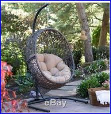 patio chair outdoor hanging furniture egg resin wicker cushion