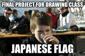 Funny Japanese Memes - final project for drawing class japanese flag lazy elementary