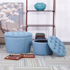 Storage Ottoman Tufted by Osp Accents Lacey Tufted Storage Ottoman Set In Blue Sb239 M43
