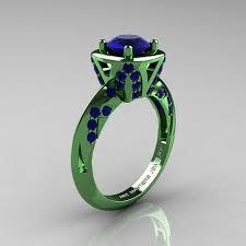 green wedding rings classic 14k green gold 1 0 ct blue sapphire