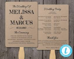 wedding program paddle fan template rustic wedding program fan template fan wedding program template