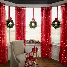 Window Ornaments With Lights A Festive Trio Of Mini Wreaths Each Gleaming With 20