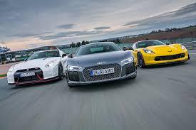 corvette vs audi r8 audi r8 v10 plus vs chevrolet corvette z06 vs nissan gt r nismo