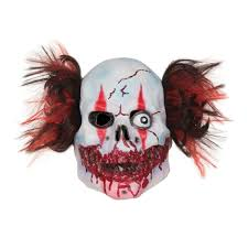mens bloody black and red manic clown fancy dress mask bm483