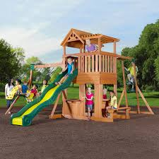 exterior pea gravel garden with oak wood backyard playsets and
