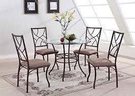 round metal dining room table amazon com king s brand 5 pc set brand round glass metal dining