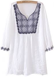embroidered blouses white v neck sleeve tribal embroidered blouse abaday com
