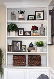 decorating built ins styled family room bookshelves shelving room and living rooms