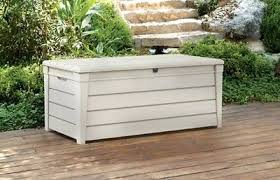 keter outdoor brightwood white 120 gallon patio pool storage deck