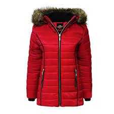 la s girls padded bubble fur hood puffer jacket womens thick