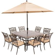 Patio Dining Sets With Umbrella Hanover Traditions 9 Piece Aluminum Outdoor Dining Set With Square