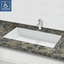 decolav sacha solid surface rectangular undermount bathroom sink