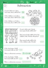 subtraction word problems math practice worksheet grade 1