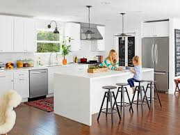 contemporary white kitchen and living room makeover hgtv