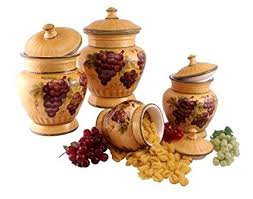 grape canister sets kitchen 4pc ceramic canister set tuscany grape kitchen