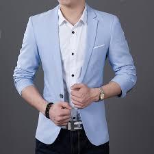 light blue jacket mens 2018 new fashion long sleeve brand blazer men blazer casual coat