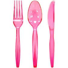 plastic ware neon pink plastic combo cutlery 24 count neon pink plasticware