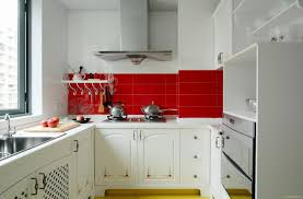 sweet white kitchen cabinetry with red backsplash in a beautiful