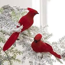 cardinal bird ornament clip on 2pk decor 7