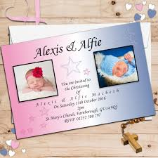 Baptism Card Invitation 10 Personalised Twins Joint Baptism Christening Photo Invitations N11