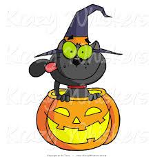 vector kitty clipart of a black cat in a halloween jackolantern