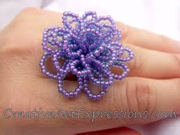 Costume Jewelry Unique Beaded Design Creative Art Expressions Handmade Purple Aqua Seed Bead Flower