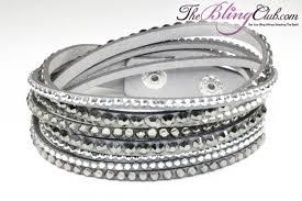 leather bracelet swarovski images Gorgeous grey vegan leather bling crystal wrap bracelet jpg